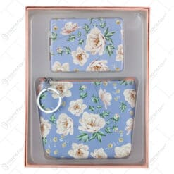Set portfard cu oglinda poseta - Design Floral/Bufnite