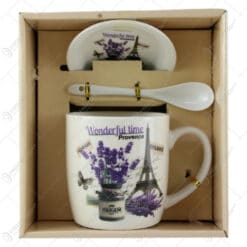 Cana cu farfurie si lingurita din ceramica Lavanda Provence