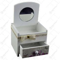 Cutie de bijuterii din lemn cu sertar 11x9 CM - Trandafiri