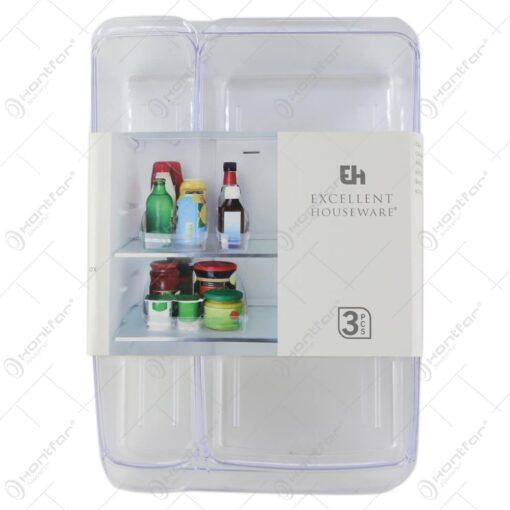 Set 3 organizatoare pentru frigider din plastic