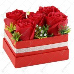 Aranjament din flori de sapun in cutie - Trandafiri - Diverse modele