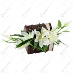 Cufar decorativ cu aranjament de flori artificiale 25 CM