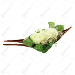 Aranjament din plante uscate si trandafiri din sapun 32 CM