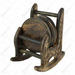 Set 6 suporturi pentru pahare Balansoar mic din lemn ars 11 CM