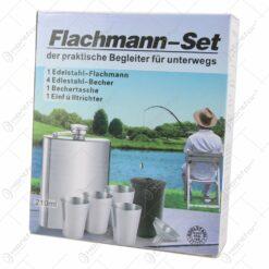 Set plosca cu 4 pahare si palnie din inox - Flachmann Set
