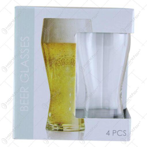 Set 4 pahare bere din sticla 400 ml