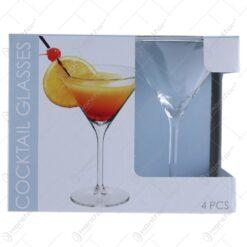 Set 4 pahare cocktail din sticla 260 ml