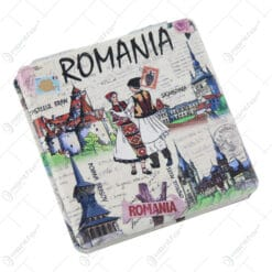 Oglinda dubla Souvenir Romania 7x7 CM