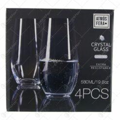 Set 4 pahare din cristal 580 ml