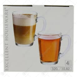 Set 4 cani pentru ceai/cafea din sticla 320 ml