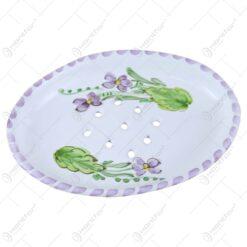 Sapuniera din ceramica pictata manual 14 CM - Violete
