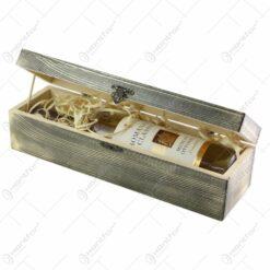 Cutie lemn cu o sticla de vin 750 ml