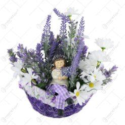 Cos oval cu flori si figurina gradinar 25 CM - Lavanda