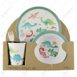 Set serviciu masa 5 piese pentru copii realizat din bambus - Unicorn/Dinozaur