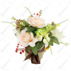 Cana ceramica decorat cu flori de vara 20 CM
