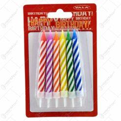 Set 12 lumanari colorate pentru tort 10 CM