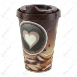 Pahar pentru cafea din plastic cu capac 12 CM