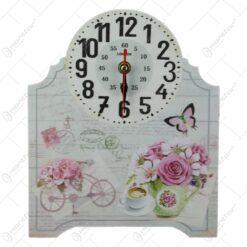 Ceas masa din lemn 20x23 CM - Lavender/Rose