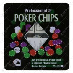 Set 100 jetoane poker si 2 pachete de carti de joc