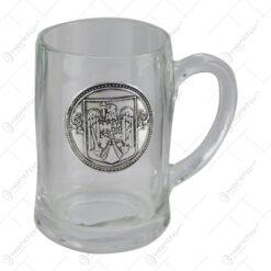 Halba bere cu eticheta metalica Stema romaniei 12 CM