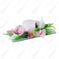 Platou decorativ cu lumanare si flori 28 CM