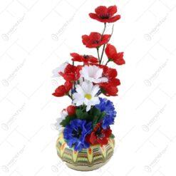 Aranjament flori de camp artificiale in ghiveci de ceramica 28 CM
