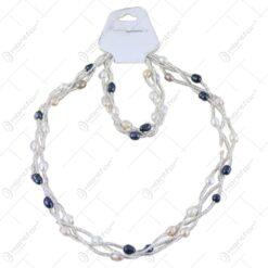 Set colier si bratara din perle sidefate - Culori variate