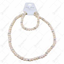 Set colier si bratara din perle sidefate Fashion Jewelery