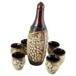 Set pentru vin din ceramica cu 6 cani - Vita de vie