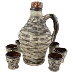Set pentru vin din ceramica cu 6 cani - Ulcior impletit