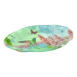 Platou pentru servire realizat din sticla - Design Flowers & Birds - Oval