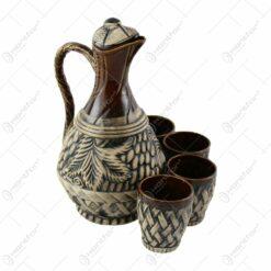 Set pentru vin din ceramica cu 4 cani - Model cu struguri