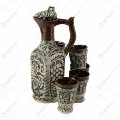 Set pentru vin din ceramica cu 6 cani - Model Antic