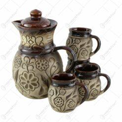 Set pentru vin din ceramica cu 4 cani - Model Vara