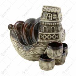 Set pentru vin din ceramica cu 6 cani - Model Fregata