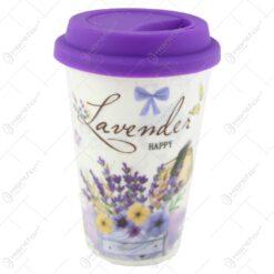 Pahar din ceramica cu capac silicon 400 ml Happy Lavender