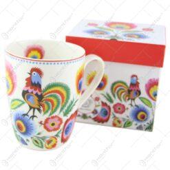 "Cana portelan 380 ml ""Etno Cocos"" in cutie decorativa"