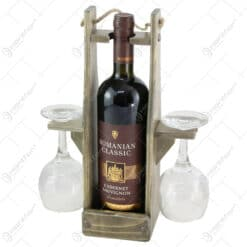Suport din lemn cu vin 0.7 L si 2 pahare