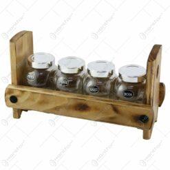Set 4 recipiente condimente cu suport lemn 30x16 CM