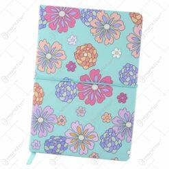 Agenda nedatata cu motive florale si elastic 14x21 CM