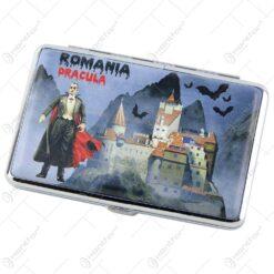 Tabachera metalica Romania Dracula 10x6 CM