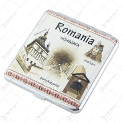 Tabachera metalica Romania Castelul Bran 9x10 CM