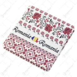 Oglinda dubla cu motive traditionale Romania 7x7 CM