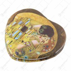 "Oglinda poseta dubla forma inima ""Sarutul"" de Gustav Klimt-7cm"