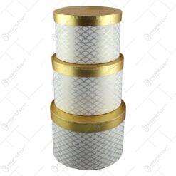 Set 3 cutii cadou cu capac Auriu cu alb 24x17 CM