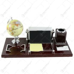 Set birou din lemn cu glob pamantesc 42x20 CM
