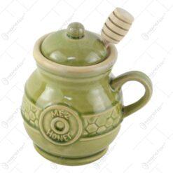 Recipient pentru miere din ceramica cu lingurita lemn 10x13 CM