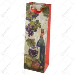 Punga cadou pentru bauturi 12x36 CM - Design Sticla vin Strugure