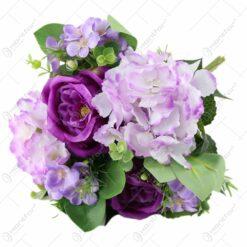 Buchet artificial cu trandafiri si hortensii 35 CM