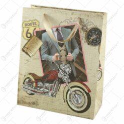 """Punga cadou din hartie 26x32 CM - Motocicleta """"Route 66"""""""